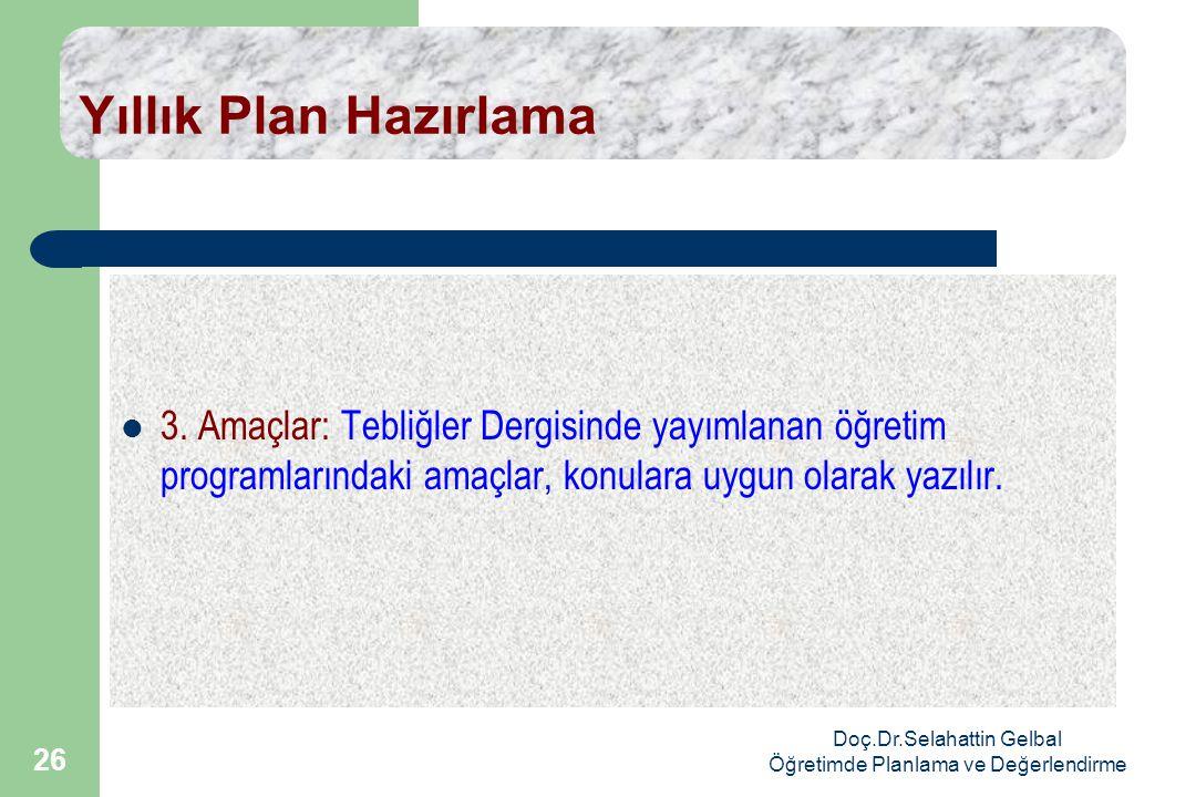 Doç.Dr.Selahattin Gelbal Öğretimde Planlama ve Değerlendirme 26 Yıllık Plan Hazırlama  3.