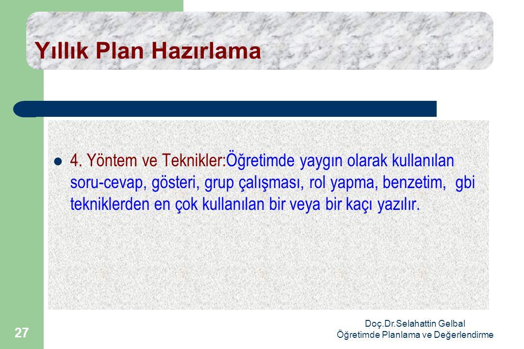 Doç.Dr.Selahattin Gelbal Öğretimde Planlama ve Değerlendirme 27 Yıllık Plan Hazırlama  4.