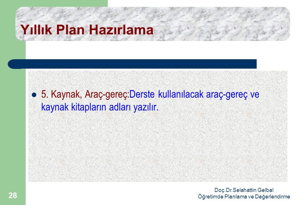 Doç.Dr.Selahattin Gelbal Öğretimde Planlama ve Değerlendirme 28 Yıllık Plan Hazırlama  5.