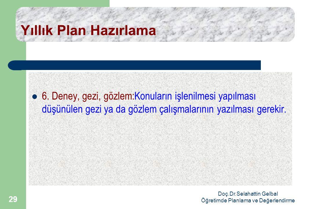Doç.Dr.Selahattin Gelbal Öğretimde Planlama ve Değerlendirme 29 Yıllık Plan Hazırlama  6.