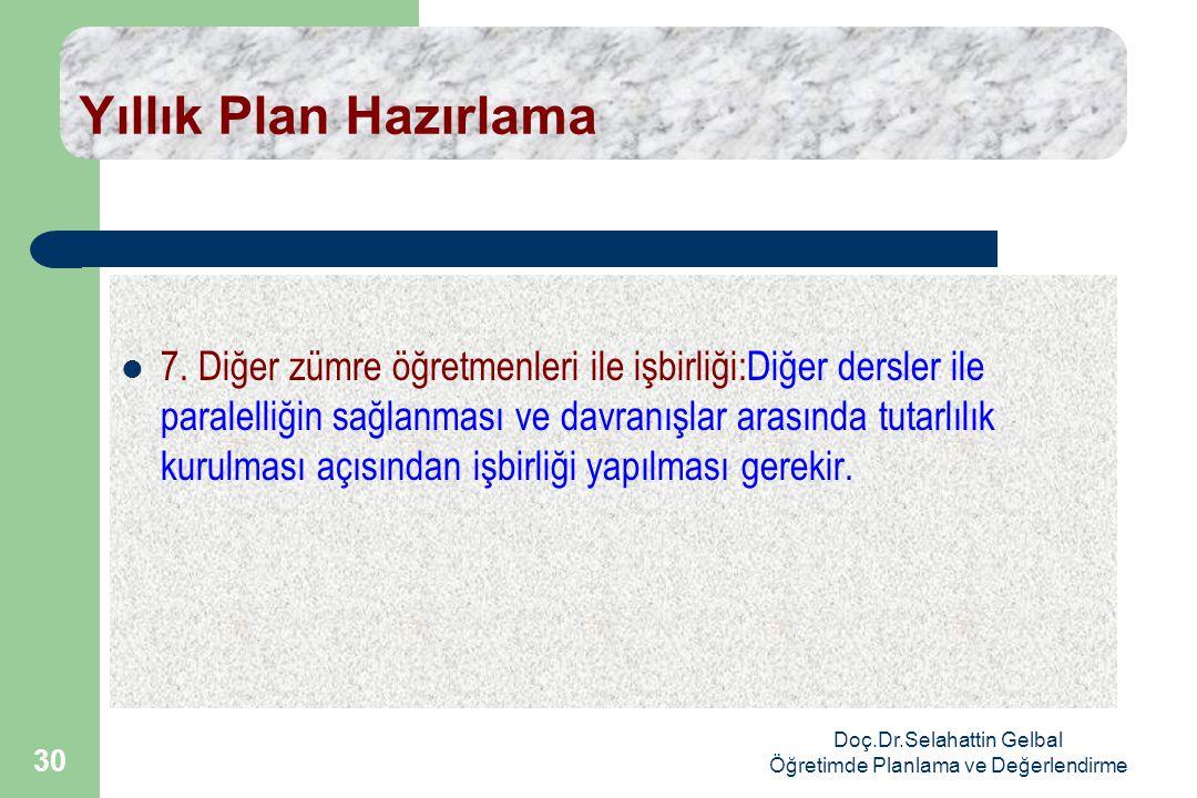 Doç.Dr.Selahattin Gelbal Öğretimde Planlama ve Değerlendirme 30 Yıllık Plan Hazırlama  7.