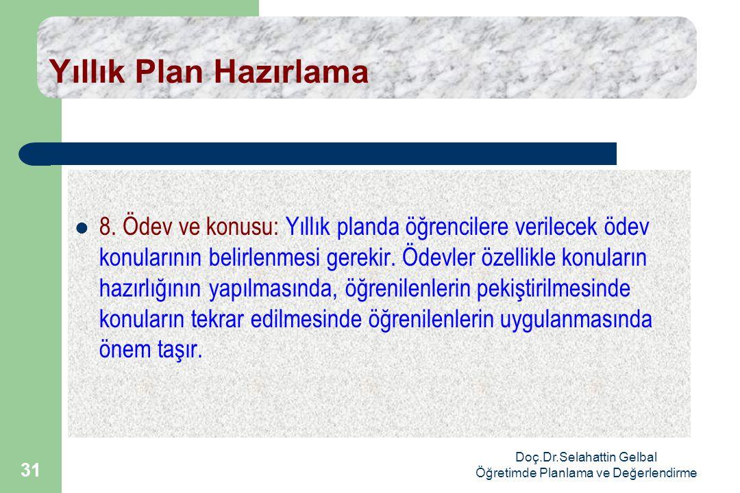 Doç.Dr.Selahattin Gelbal Öğretimde Planlama ve Değerlendirme 31 Yıllık Plan Hazırlama  8.