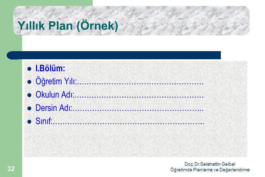 Doç.Dr.Selahattin Gelbal Öğretimde Planlama ve Değerlendirme 32 Yıllık Plan (Örnek)  I.Bölüm:  Öğretim Yılı:……………………………………………  Okulun Adı:…………………………………………….