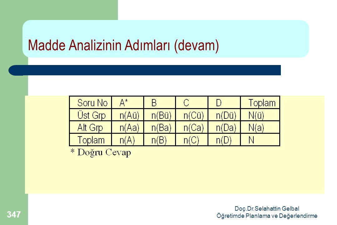 Doç.Dr.Selahattin Gelbal Öğretimde Planlama ve Değerlendirme 347 Madde Analizinin Adımları (devam)