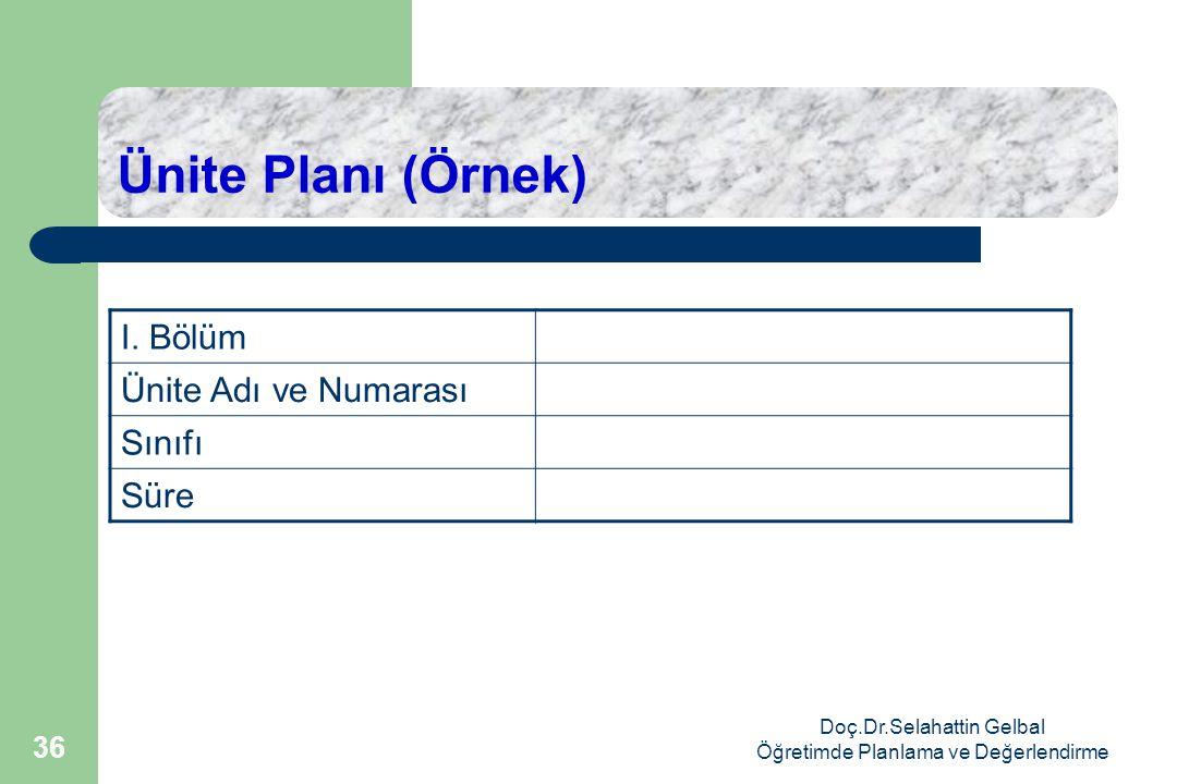 Doç.Dr.Selahattin Gelbal Öğretimde Planlama ve Değerlendirme 36 Ünite Planı (Örnek) I.