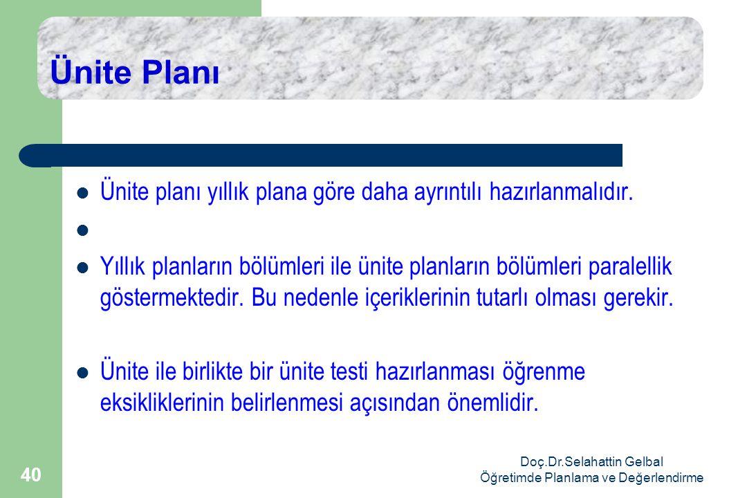 Doç.Dr.Selahattin Gelbal Öğretimde Planlama ve Değerlendirme 40 Ünite Planı  Ünite planı yıllık plana göre daha ayrıntılı hazırlanmalıdır.