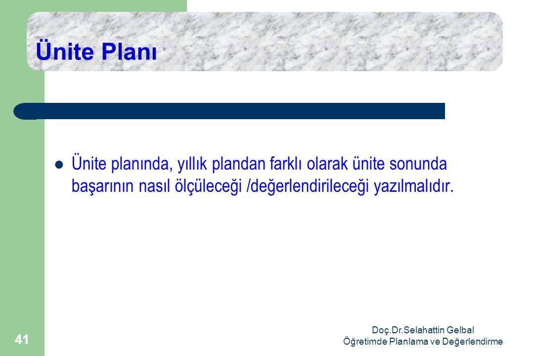 Doç.Dr.Selahattin Gelbal Öğretimde Planlama ve Değerlendirme 41 Ünite Planı  Ünite planında, yıllık plandan farklı olarak ünite sonunda başarının nasıl ölçüleceği /değerlendirileceği yazılmalıdır.