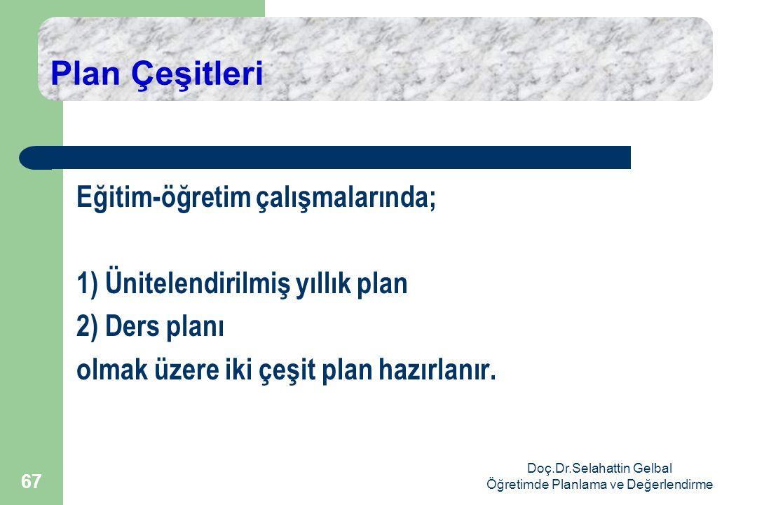 Doç.Dr.Selahattin Gelbal Öğretimde Planlama ve Değerlendirme 67 Plan Çeşitleri Eğitim-öğretim çalışmalarında; 1) Ünitelendirilmiş yıllık plan 2) Ders planı olmak üzere iki çeşit plan hazırlanır.