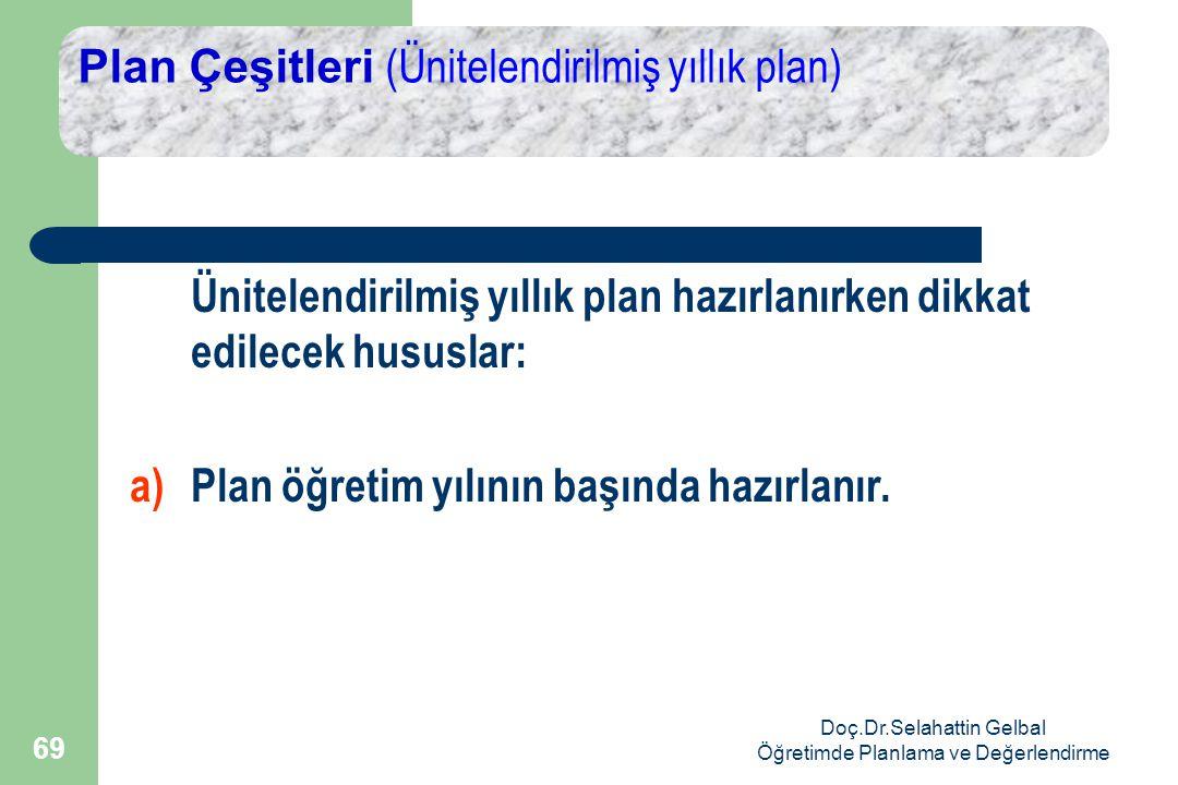 Doç.Dr.Selahattin Gelbal Öğretimde Planlama ve Değerlendirme 69 Plan Çeşitleri (Ünitelendirilmiş yıllık plan) Ünitelendirilmiş yıllık plan hazırlanırken dikkat edilecek hususlar: a) Plan öğretim yılının başında hazırlanır.