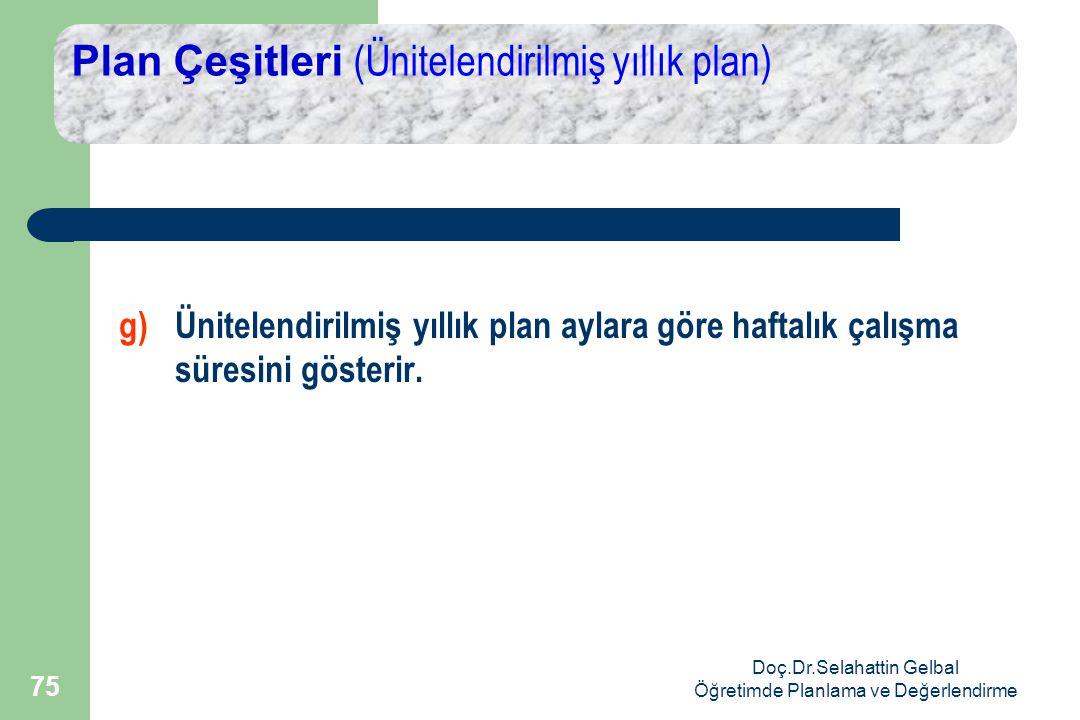 Doç.Dr.Selahattin Gelbal Öğretimde Planlama ve Değerlendirme 75 Plan Çeşitleri (Ünitelendirilmiş yıllık plan) g) Ünitelendirilmiş yıllık plan aylara göre haftalık çalışma süresini gösterir.