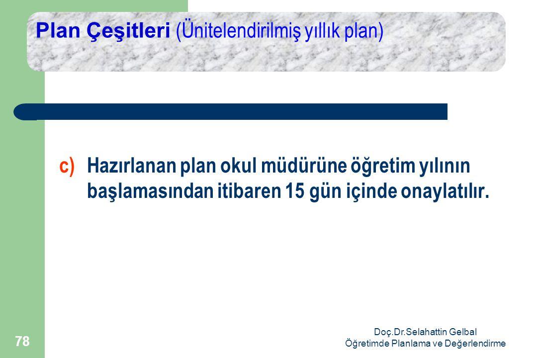 Doç.Dr.Selahattin Gelbal Öğretimde Planlama ve Değerlendirme 78 Plan Çeşitleri (Ünitelendirilmiş yıllık plan) c) Hazırlanan plan okul müdürüne öğretim yılının başlamasından itibaren 15 gün içinde onaylatılır.