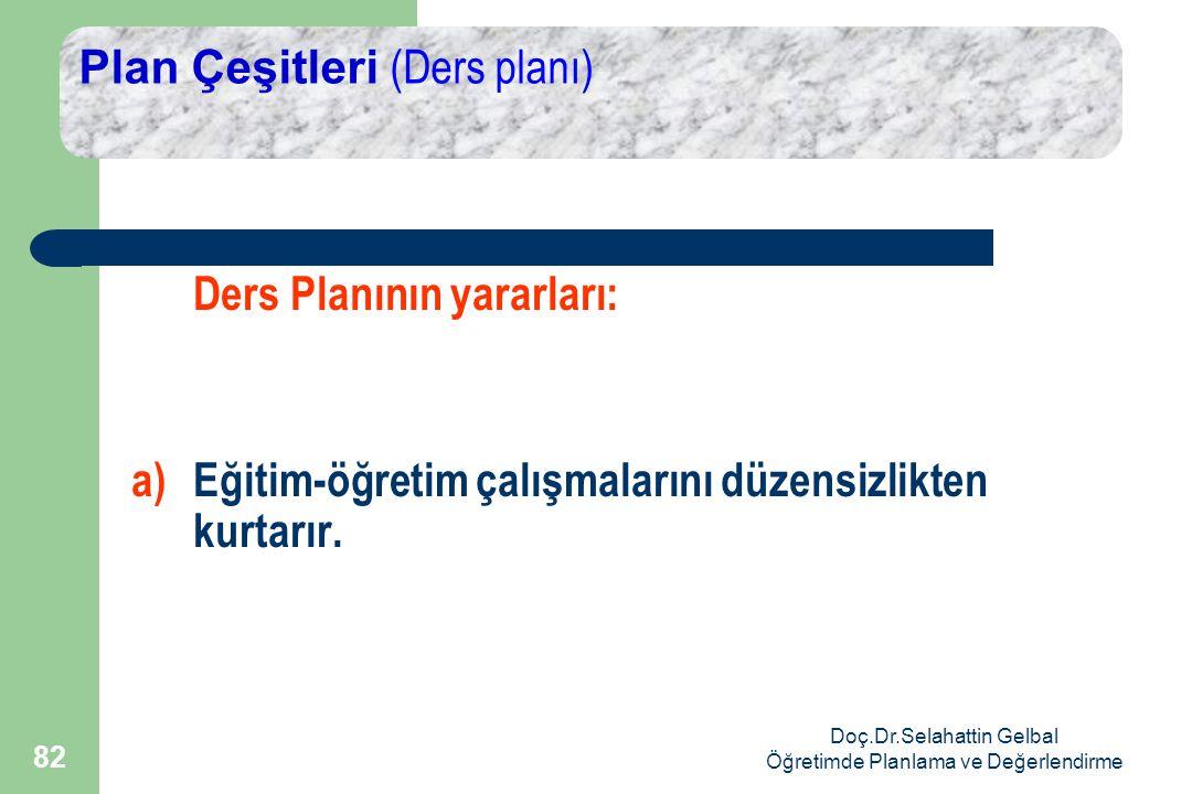 Doç.Dr.Selahattin Gelbal Öğretimde Planlama ve Değerlendirme 82 Plan Çeşitleri (Ders planı) Ders Planının yararları: a)Eğitim-öğretim çalışmalarını düzensizlikten kurtarır.