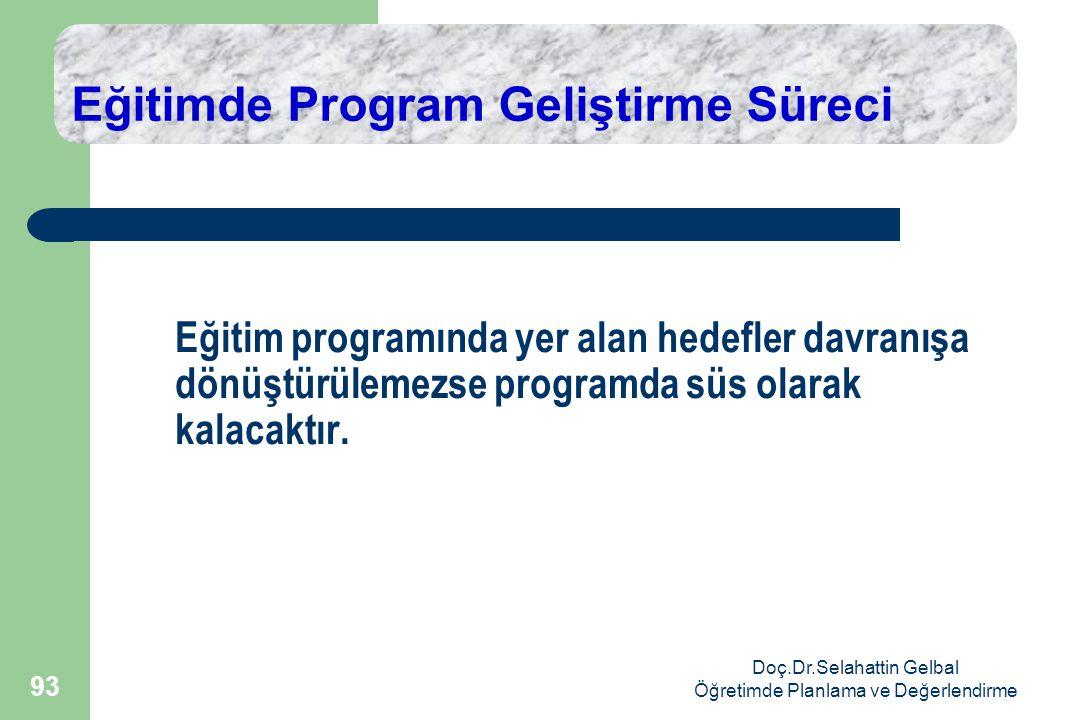 Doç.Dr.Selahattin Gelbal Öğretimde Planlama ve Değerlendirme 93 Eğitimde Program Geliştirme Süreci Eğitim programında yer alan hedefler davranışa dönüştürülemezse programda süs olarak kalacaktır.