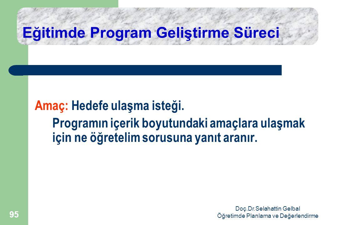 Doç.Dr.Selahattin Gelbal Öğretimde Planlama ve Değerlendirme 95 Eğitimde Program Geliştirme Süreci Amaç: Hedefe ulaşma isteği.