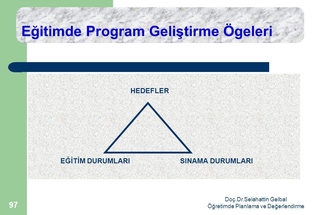 Doç.Dr.Selahattin Gelbal Öğretimde Planlama ve Değerlendirme 97 Eğitimde Program Geliştirme Ögeleri HEDEFLER EĞİTİM DURUMLARISINAMA DURUMLARI