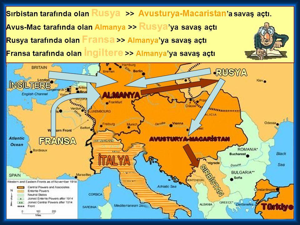 Sırbistan tarafında olan Rusya >> Avusturya-Macaristan 'a savaş açtı.