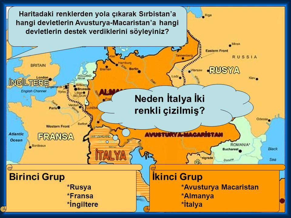Haritadaki renklerden yola çıkarak Sırbistan'a hangi devletlerin Avusturya-Macaristan'a hangi devletlerin destek verdiklerini söyleyiniz.