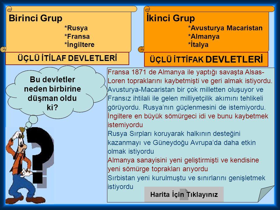 Birinci Grup *Rusya *Fransa *İngiltere İkinci Grup *Avusturya Macaristan *Almanya *İtalya Acaba bu grupların isimleri ne.