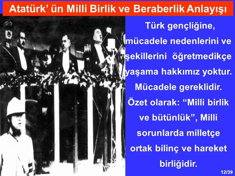 12/39 Türk gençliğine, mücadele nedenlerini ve şekillerini öğretmedikçe yaşama hakkımız yoktur.