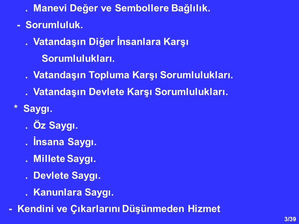 14/39 Tarihteki Türk devletlerinin ortak yıkılış nedenlerini şöyle sıralayabiliriz : * Eski Türk Devlet sistemindeki iktidarın veraset yoluyla çocuklara geçmesi ve ülkenin paylaşılması, * Ülke dışından ve içinden yapılan fesatın ve bozgunculuğun önüne geçilememesi, Atatürk' ün Milli Birlik ve Beraberlik Anlayışı