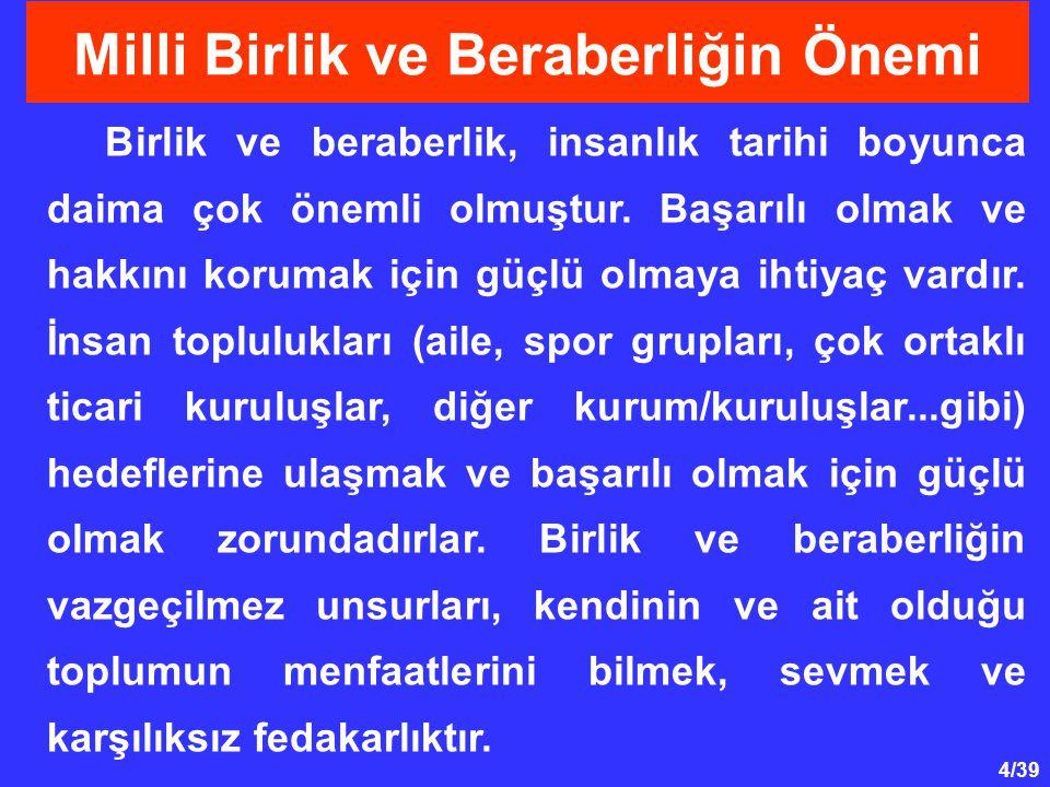 35/39 Millete saygı onun kültürüne, kurumlarına, tarihine vb.