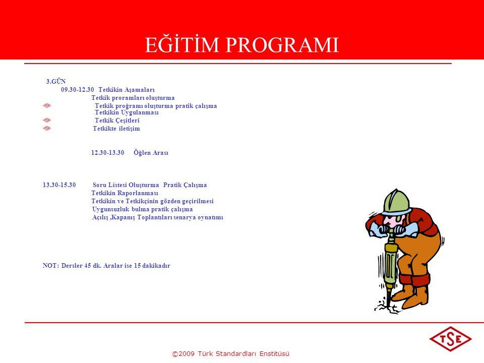 ©2009 Türk Standardları Enstitüsü EĞİTİM PROGRAMI 3.GÜN 09.30-12.30 Tetkikin Aşamaları Tetkik proramları oluşturma Tetkik proğramı oluşturma pratik ça