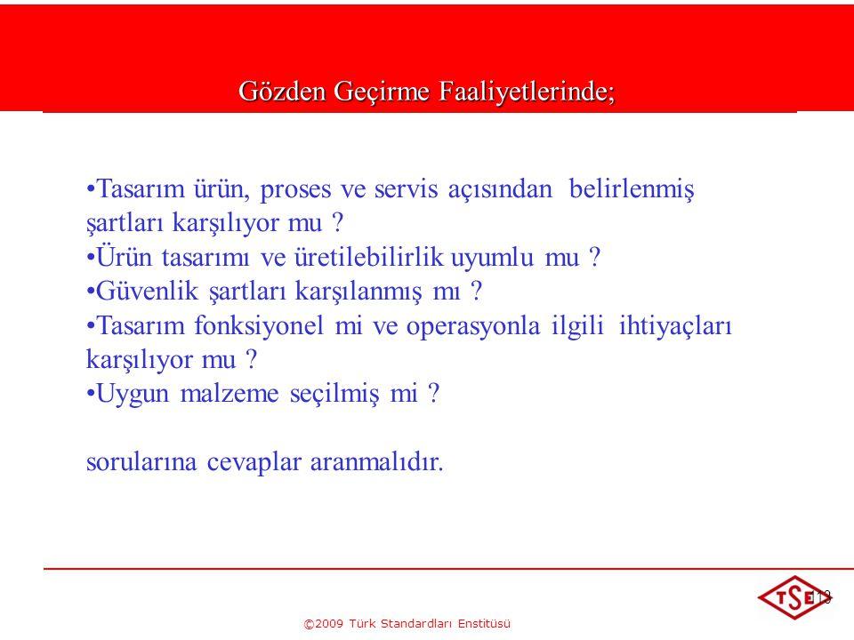 ©2009 Türk Standardları Enstitüsü 113 Gözden Geçirme Faaliyetlerinde; • •Tasarım ürün, proses ve servis açısından belirlenmiş şartları karşılıyor mu ?