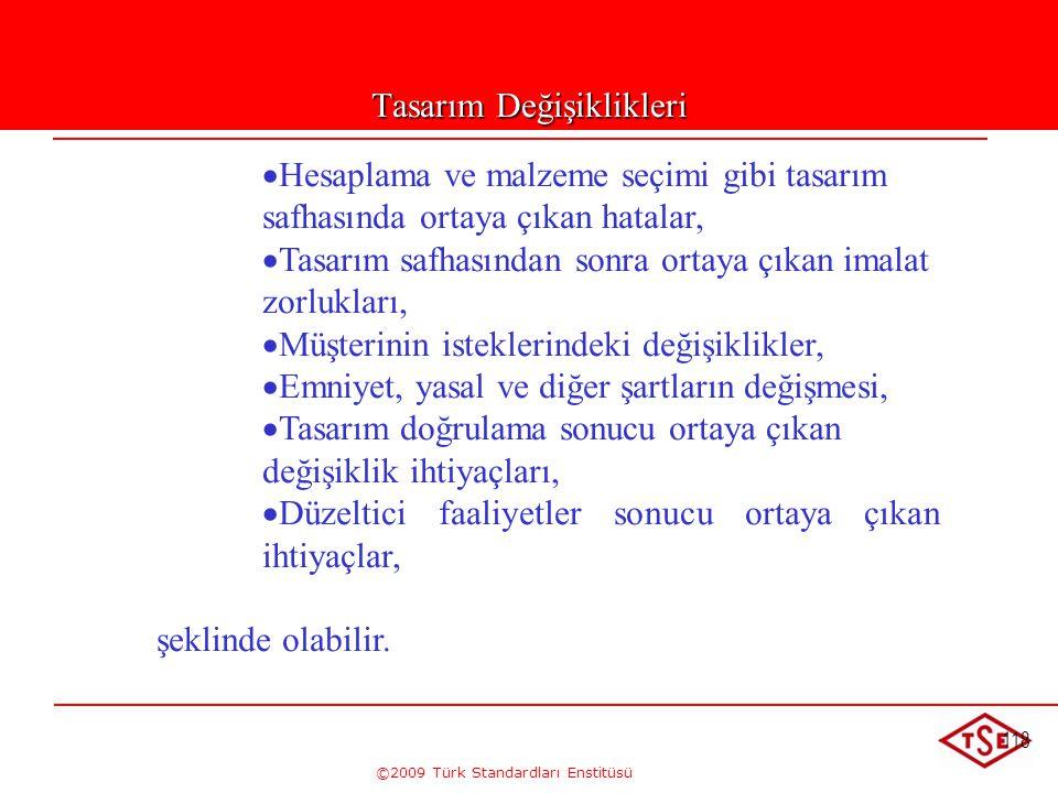 ©2009 Türk Standardları Enstitüsü 118 Tasarım Değişiklikleri   Hesaplama ve malzeme seçimi gibi tasarım safhasında ortaya çıkan hatalar,   Tasarım