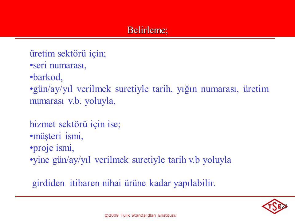 ©2009 Türk Standardları Enstitüsü 129Belirleme; üretim sektörü için; • •seri numarası, • •barkod, • •gün/ay/yıl verilmek suretiyle tarih, yığın numara