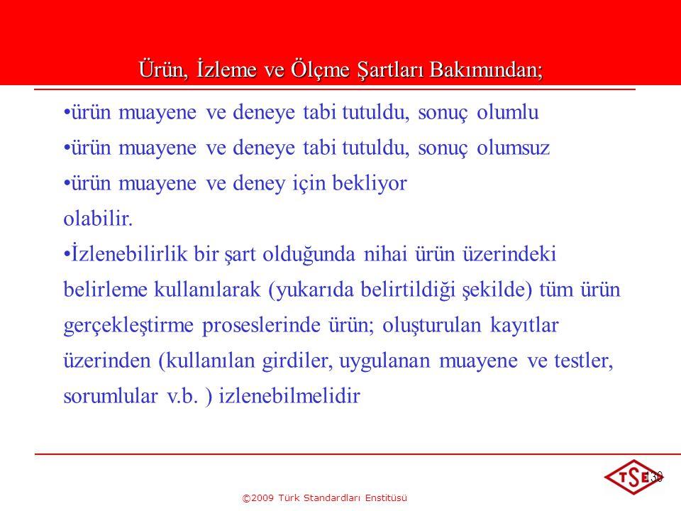 ©2009 Türk Standardları Enstitüsü 130 Ürün, İzleme ve Ölçme Şartları Bakımından; • •ürün muayene ve deneye tabi tutuldu, sonuç olumlu • •ürün muayene