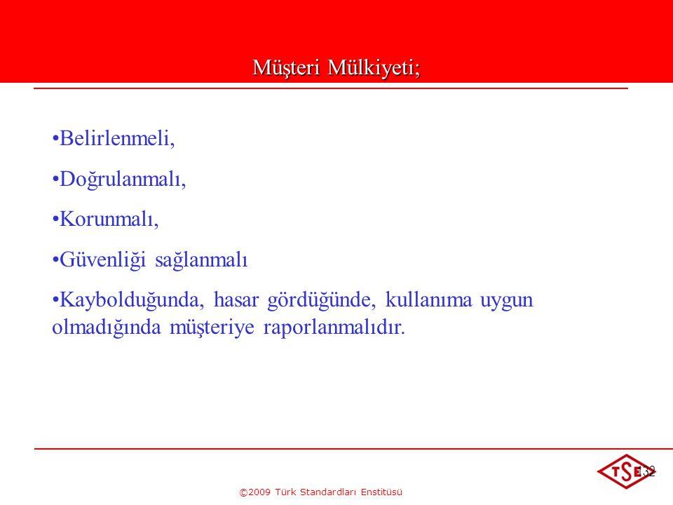 ©2009 Türk Standardları Enstitüsü 132 Müşteri Mülkiyeti; • •Belirlenmeli, • •Doğrulanmalı, • •Korunmalı, • •Güvenliği sağlanmalı • •Kaybolduğunda, has