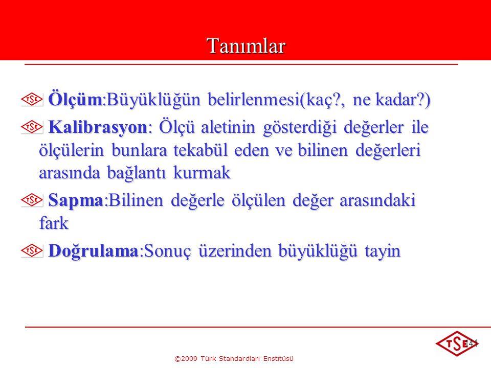 ©2009 Türk Standardları Enstitüsü 141 Tanımlar Ölçüm:Büyüklüğün belirlenmesi(kaç?, ne kadar?) Ölçüm:Büyüklüğün belirlenmesi(kaç?, ne kadar?) Kalibrasy