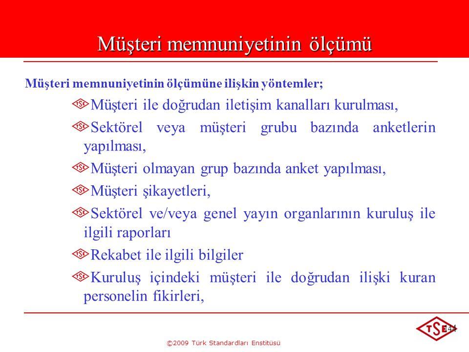 ©2009 Türk Standardları Enstitüsü 144 Müşteri memnuniyetinin ölçümü Müşteri memnuniyetinin ölçümüne ilişkin yöntemler; Müşteri ile doğrudan iletişim k