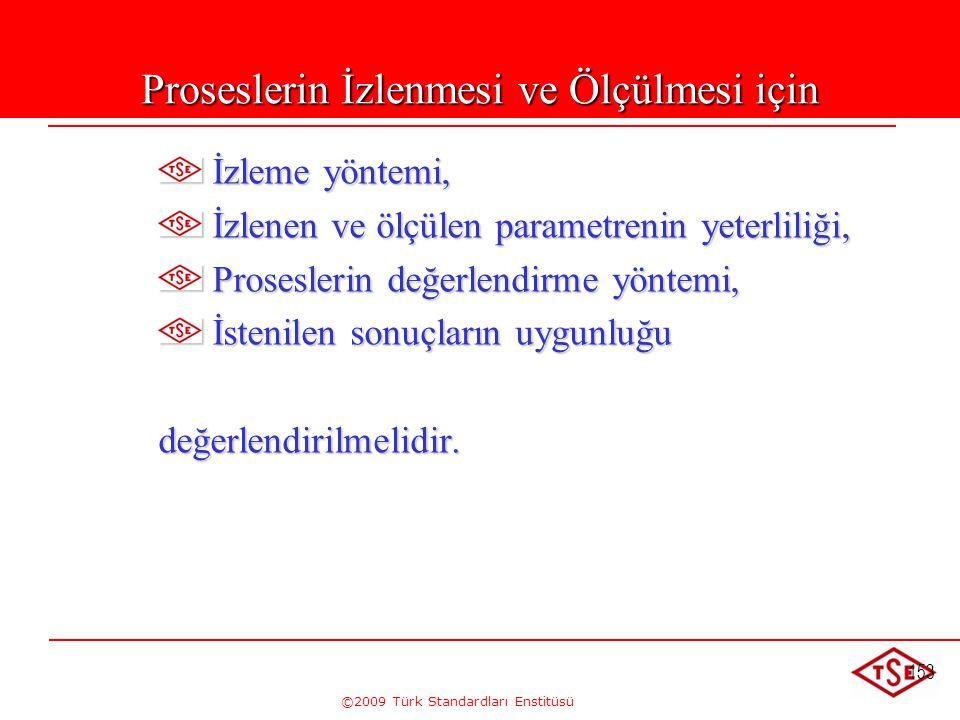 ©2009 Türk Standardları Enstitüsü 153 Proseslerin İzlenmesi ve Ölçülmesi için İzleme yöntemi, İzleme yöntemi, İzlenen ve ölçülen parametrenin yeterlil