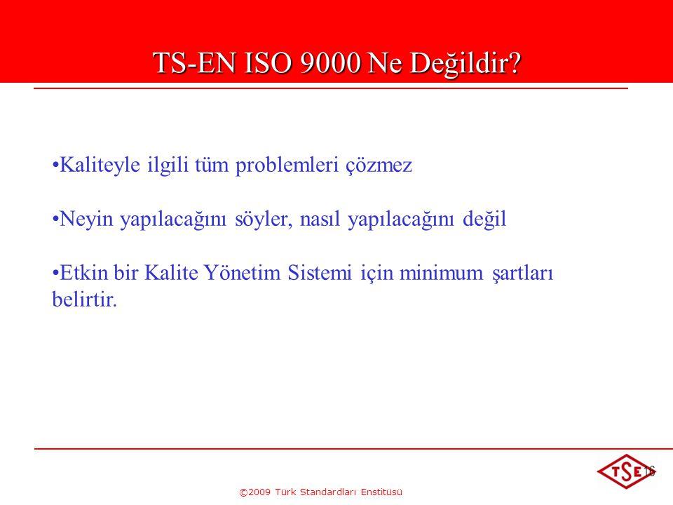 ©2009 Türk Standardları Enstitüsü 16 TS-EN ISO 9000 Ne Değildir? • •Kaliteyle ilgili tüm problemleri çözmez • •Neyin yapılacağını söyler, nasıl yapıla