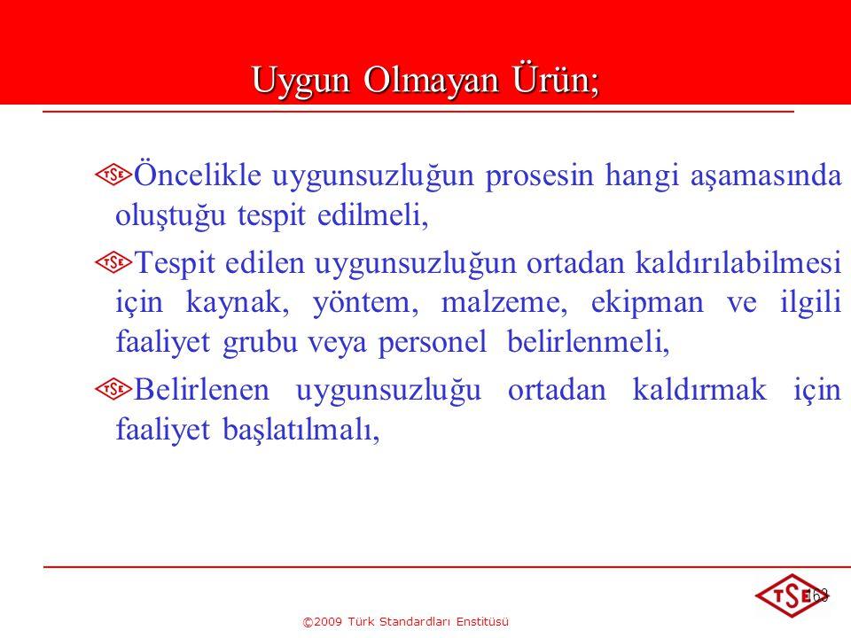 ©2009 Türk Standardları Enstitüsü 163 Uygun Olmayan Ürün; Öncelikle uygunsuzluğun prosesin hangi aşamasında oluştuğu tespit edilmeli, Tespit edilen uy