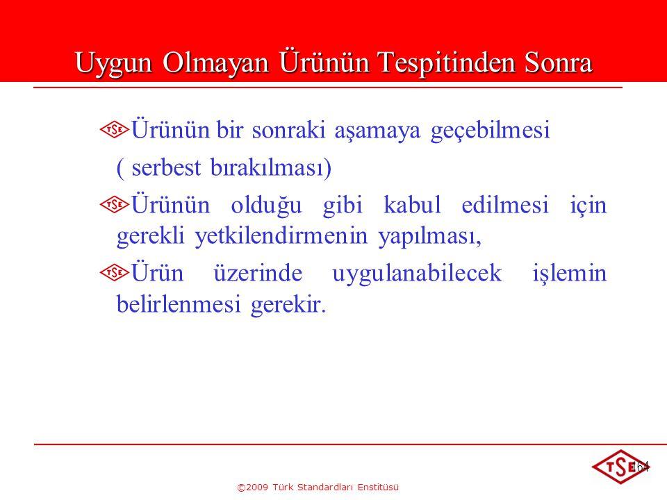 ©2009 Türk Standardları Enstitüsü 164 Uygun Olmayan Ürünün Tespitinden Sonra Ürünün bir sonraki aşamaya geçebilmesi ( serbest bırakılması) Ürünün oldu