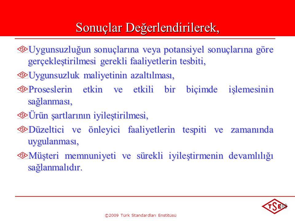 ©2009 Türk Standardları Enstitüsü 169 Sonuçlar Değerlendirilerek, Uygunsuzluğun sonuçlarına veya potansiyel sonuçlarına göre gerçekleştirilmesi gerekl