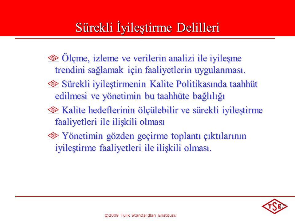 ©2009 Türk Standardları Enstitüsü 171 Sürekli İyileştirme Delilleri Ölçme, izleme ve verilerin analizi ile iyileşme trendini sağlamak için faaliyetler