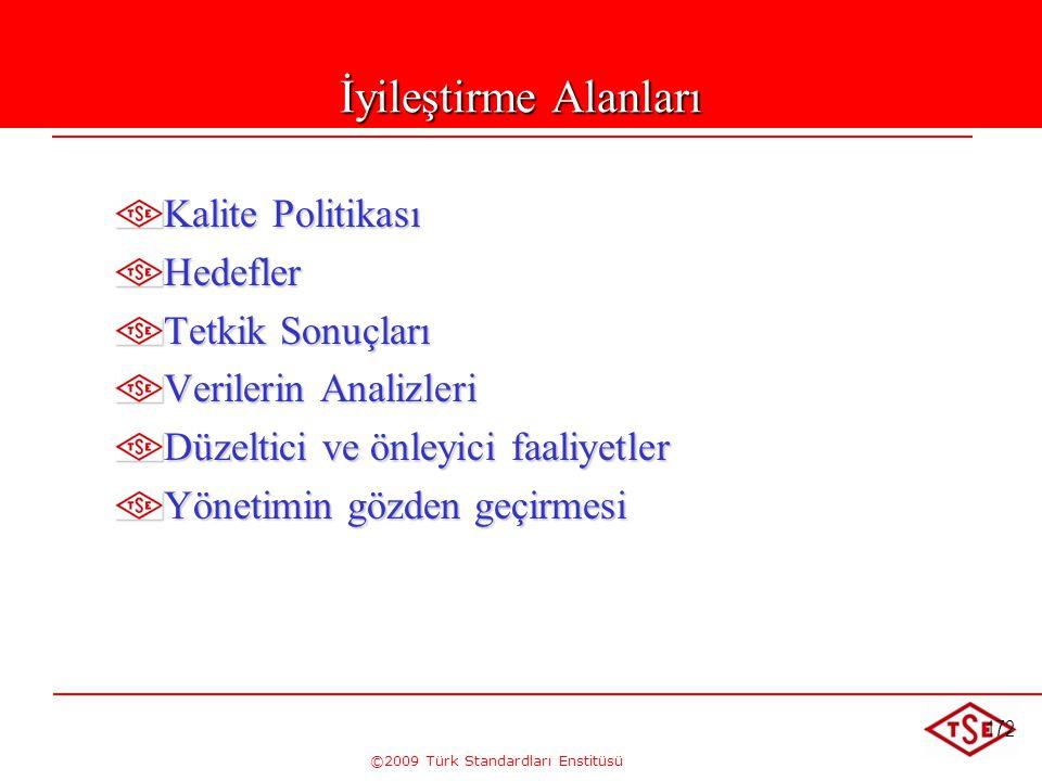 ©2009 Türk Standardları Enstitüsü 172 İyileştirme Alanları Kalite Politikası Hedefler Tetkik Sonuçları Verilerin Analizleri Düzeltici ve önleyici faal
