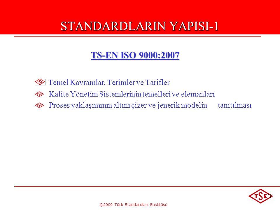 ©2009 Türk Standardları Enstitüsü 18 STANDARDLARIN YAPISI-1 TS-EN ISO 9000:2007 TS-EN ISO 9000:2007 Temel Kavramlar, Terimler ve Tarifler Kalite Yönet