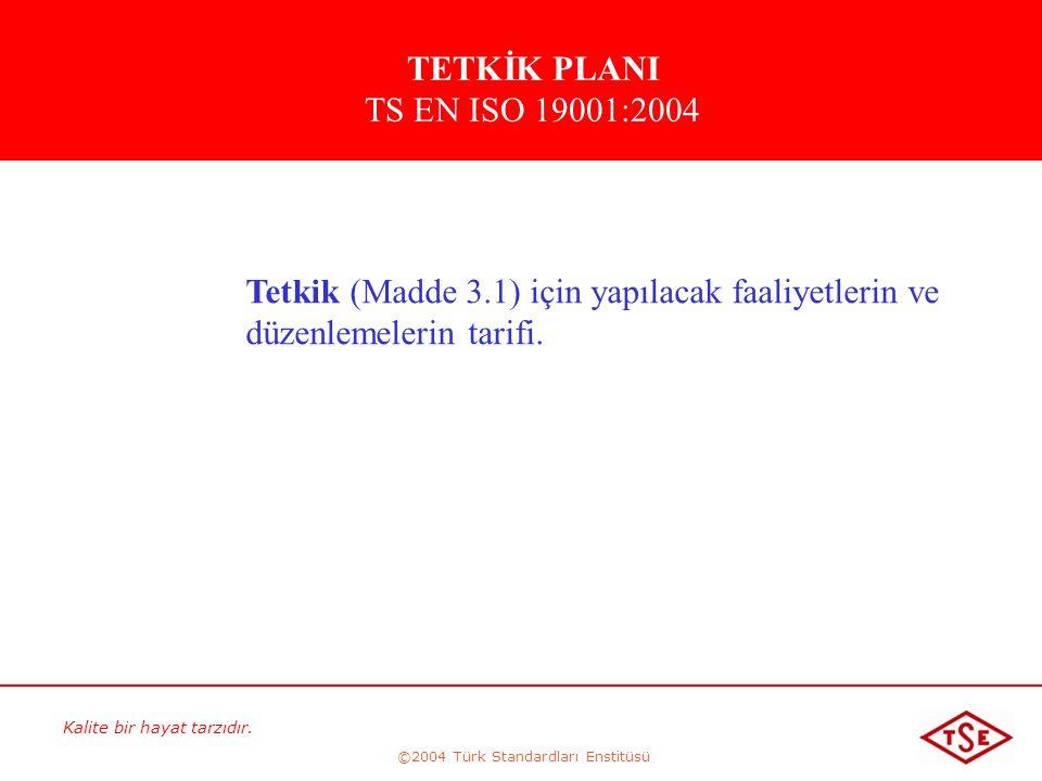 Kalite bir hayat tarzıdır. ©2004 Türk Standardları Enstitüsü Tetkik (Madde 3.1) için yapılacak faaliyetlerin ve düzenlemelerin tarifi. TETKİK PLANI TS