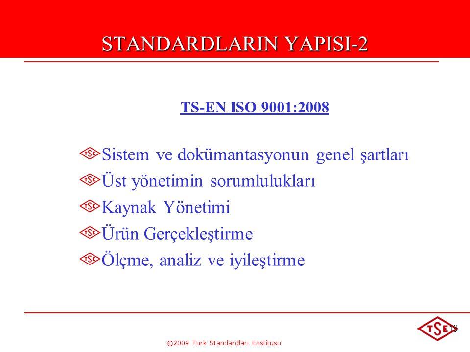 ©2009 Türk Standardları Enstitüsü 19 STANDARDLARIN YAPISI-2 TS-EN ISO 9001:2008 Sistem ve dokümantasyonun genel şartları Üst yönetimin sorumlulukları