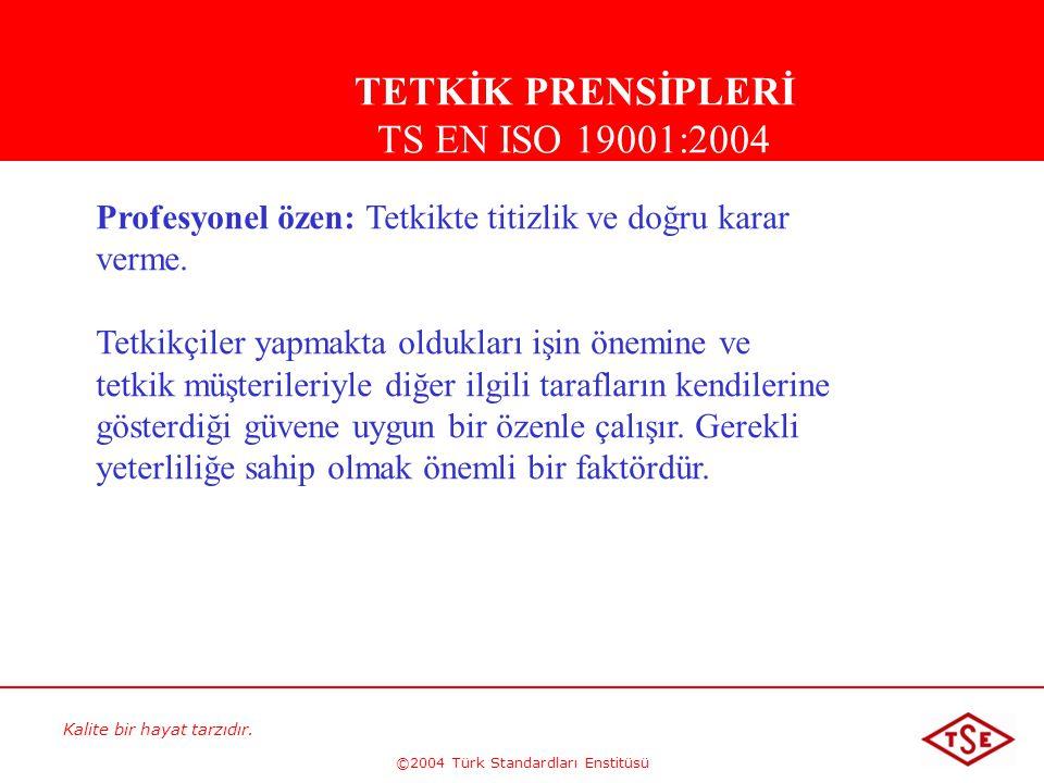 Kalite bir hayat tarzıdır. ©2004 Türk Standardları Enstitüsü Profesyonel özen: Tetkikte titizlik ve doğru karar verme. Tetkikçiler yapmakta oldukları
