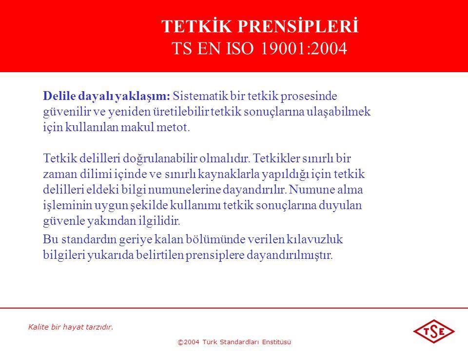 Kalite bir hayat tarzıdır. ©2004 Türk Standardları Enstitüsü Delile dayalı yaklaşım: Sistematik bir tetkik prosesinde güvenilir ve yeniden üretilebili