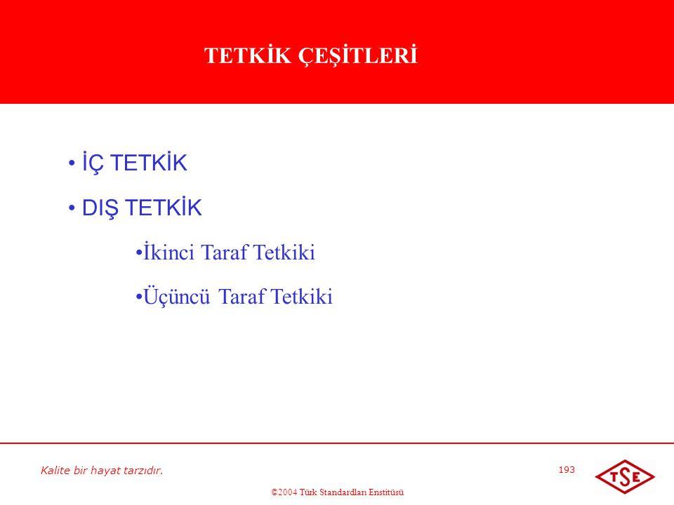 Kalite bir hayat tarzıdır. ©2004 Türk Standardları Enstitüsü 193 • • İÇ TETKİK • • DIŞ TETKİK • • İkinci Taraf Tetkiki • • Üçüncü Taraf Tetkiki TETKİK