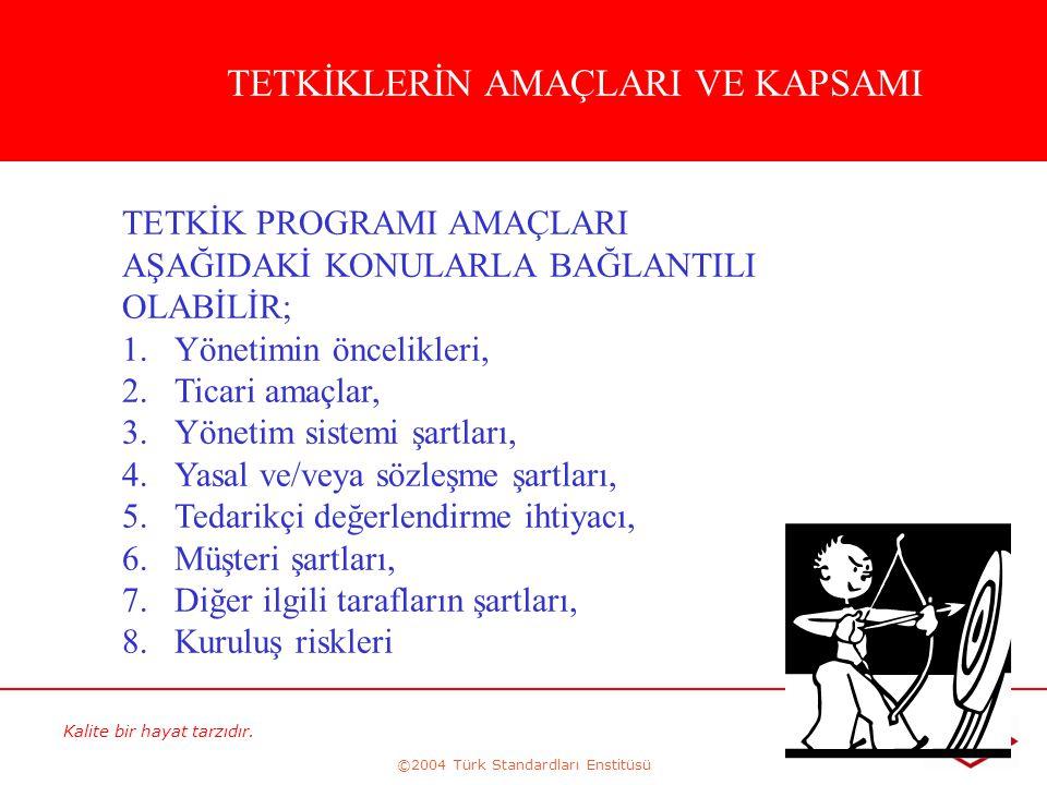 Kalite bir hayat tarzıdır. ©2004 Türk Standardları Enstitüsü 198 TETKİKLERİN AMAÇLARI VE KAPSAMI TETKİK PROGRAMI AMAÇLARI AŞAĞIDAKİ KONULARLA BAĞLANTI