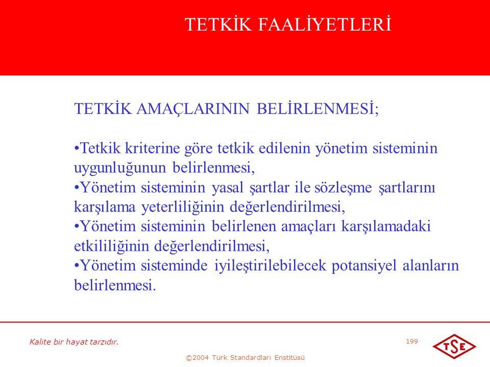Kalite bir hayat tarzıdır. ©2004 Türk Standardları Enstitüsü 199 TETKİK FAALİYETLERİ TETKİK AMAÇLARININ BELİRLENMESİ; • •Tetkik kriterine göre tetkik
