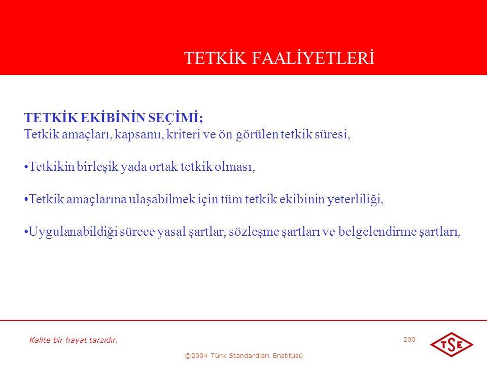 Kalite bir hayat tarzıdır. ©2004 Türk Standardları Enstitüsü 200 TETKİK FAALİYETLERİ TETKİK EKİBİNİN SEÇİMİ; Tetkik amaçları, kapsamı, kriteri ve ön g