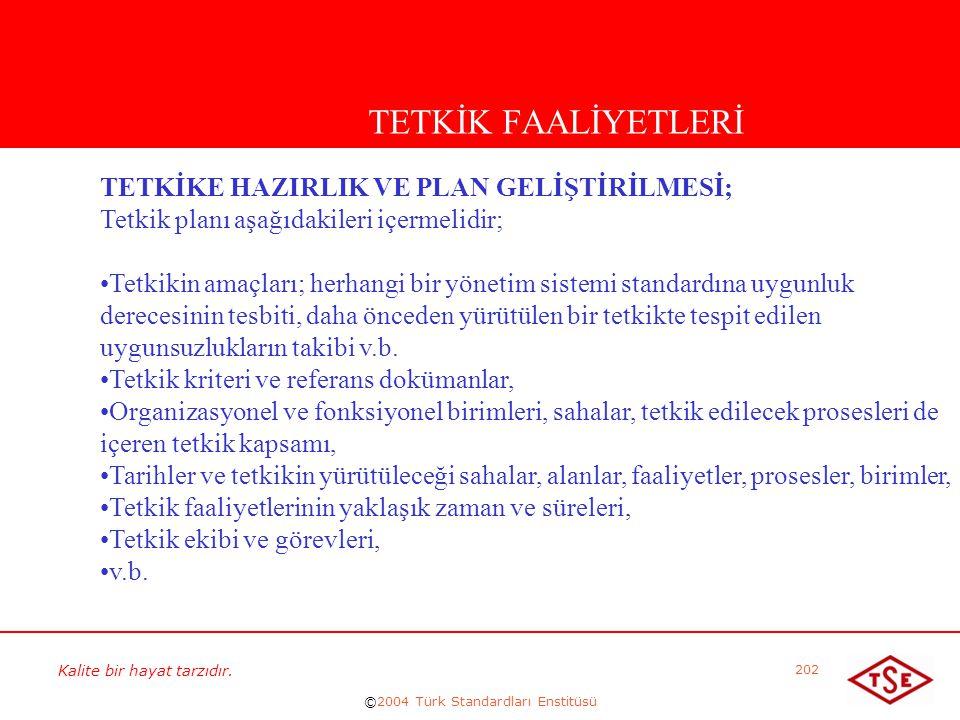 Kalite bir hayat tarzıdır. ©2004 Türk Standardları Enstitüsü 202 TETKİK FAALİYETLERİ TETKİKE HAZIRLIK VE PLAN GELİŞTİRİLMESİ; Tetkik planı aşağıdakile